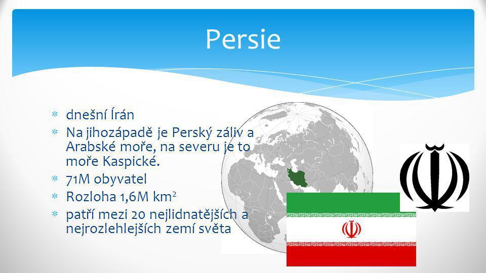  dnešní Írán  Na jihozápadě je Perský záliv a Arabské moře, na severu je to moře Kaspické.  71M obyvatel  Rozloha 1,6M km 2  patří mezi 20 nejlid