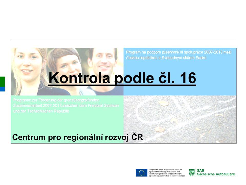 Kontrola podle čl. 16 Centrum pro regionální rozvoj ČR