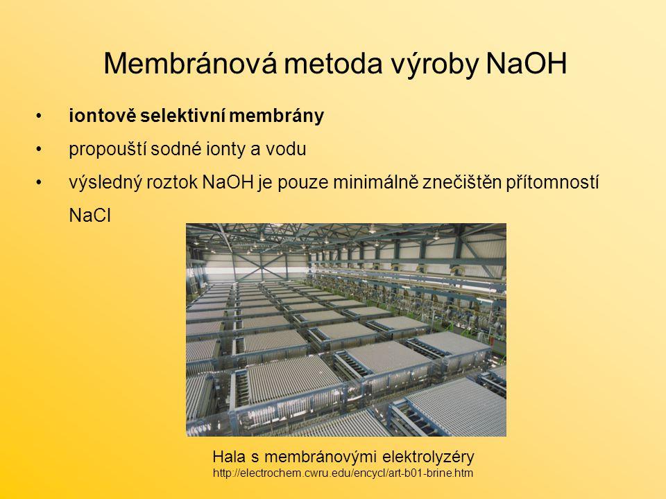 Membránová metoda výroby NaOH iontově selektivní membrány propouští sodné ionty a vodu výsledný roztok NaOH je pouze minimálně znečištěn přítomností NaCl Hala s membránovými elektrolyzéry http://electrochem.cwru.edu/encycl/art-b01-brine.htm