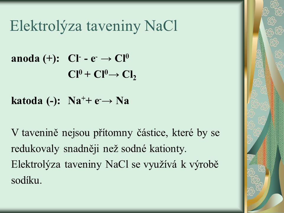 Elektrolýza taveniny NaCl anoda (+):Cl - - e - → Cl 0 Cl 0 + Cl 0 → Cl 2 katoda (-):Na + + e - → Na V tavenině nejsou přítomny částice, které by se re