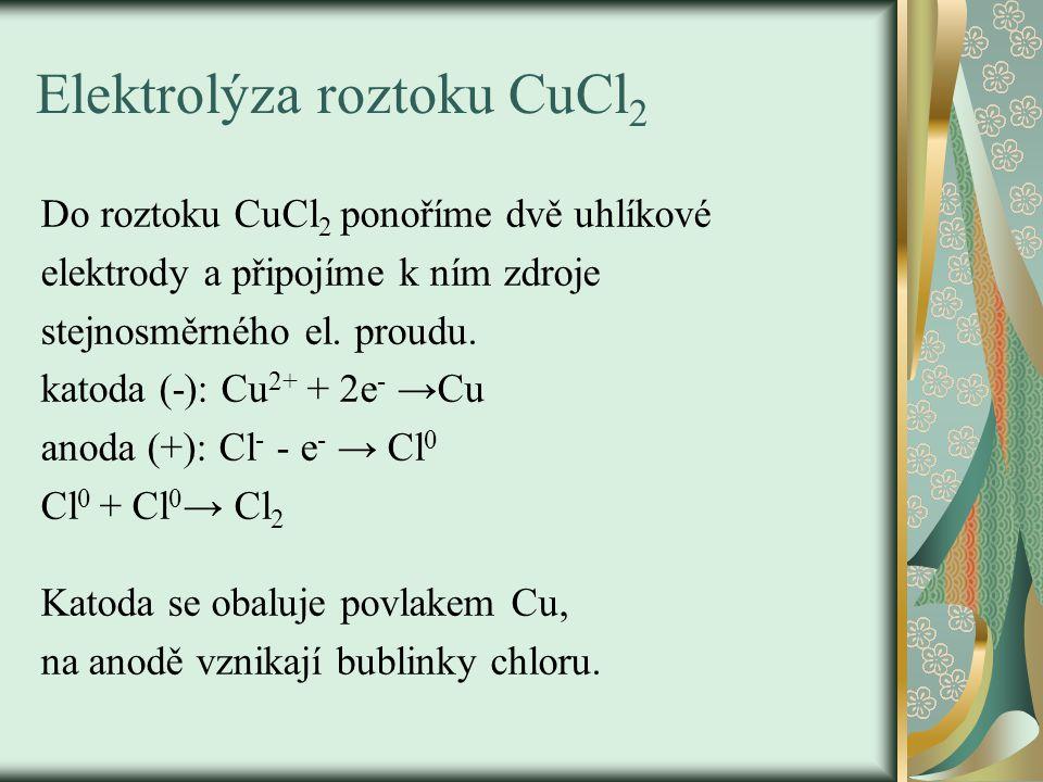 Elektrolýza roztoku CuCl 2 Do roztoku CuCl 2 ponoříme dvě uhlíkové elektrody a připojíme k ním zdroje stejnosměrného el. proudu. katoda (-): Cu 2+ + 2