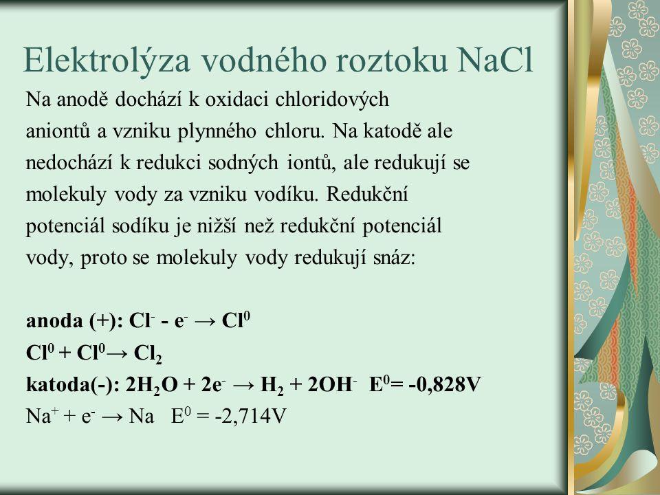 Elektrolýza vodného roztoku NaCl Na anodě dochází k oxidaci chloridových aniontů a vzniku plynného chloru. Na katodě ale nedochází k redukci sodných i