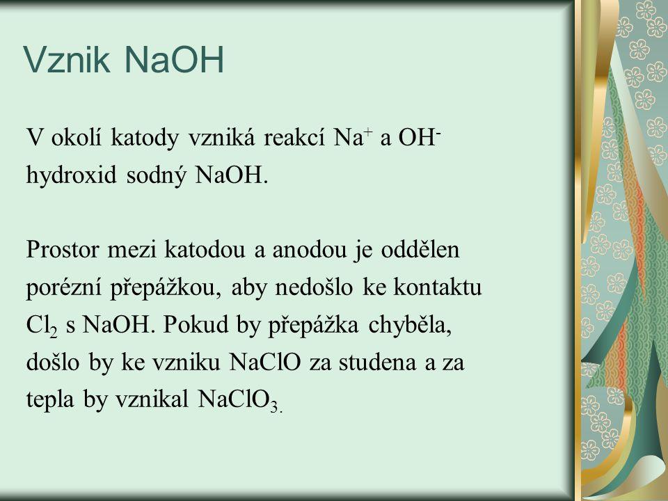 Vznik NaOH V okolí katody vzniká reakcí Na + a OH - hydroxid sodný NaOH. Prostor mezi katodou a anodou je oddělen porézní přepážkou, aby nedošlo ke ko