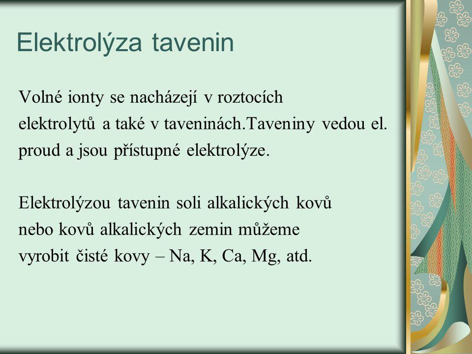 Elektrolýza tavenin Volné ionty se nacházejí v roztocích elektrolytů a také v taveninách.Taveniny vedou el. proud a jsou přístupné elektrolýze. Elektr