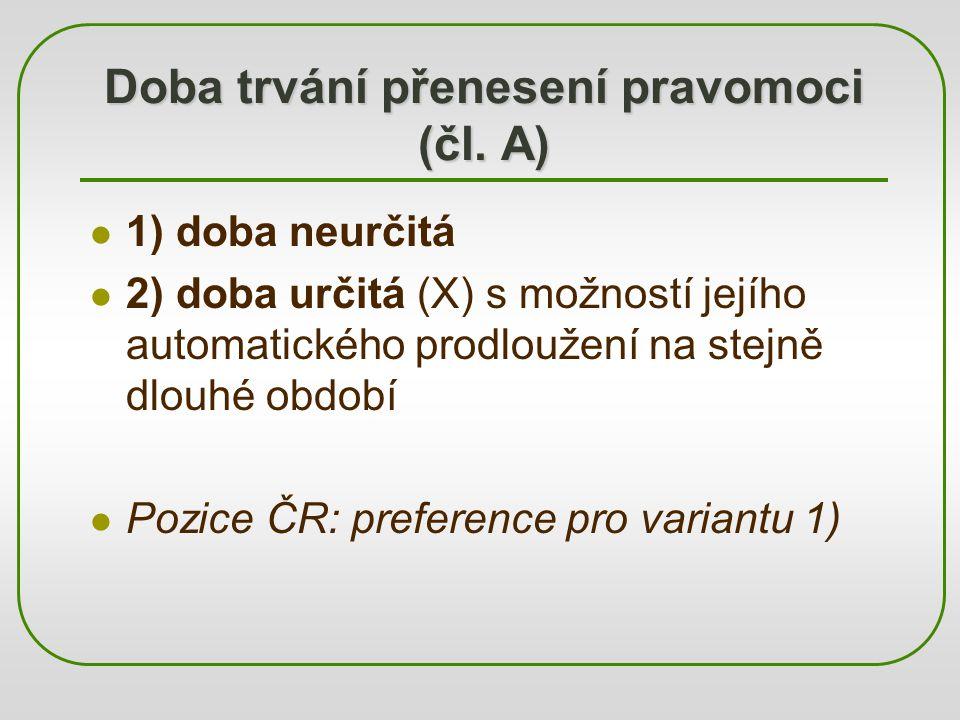 Doba trvání přenesení pravomoci (čl. A) 1) doba neurčitá 2) doba určitá (X) s možností jejího automatického prodloužení na stejně dlouhé období Pozice