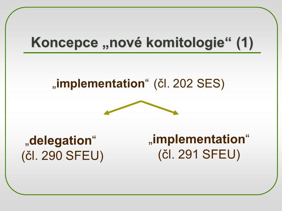 """Koncepce """"nové komitologie"""" (1) """"implementation"""" (čl. 202 SES) """"delegation"""" (čl. 290 SFEU) """"implementation"""" (čl. 291 SFEU)"""