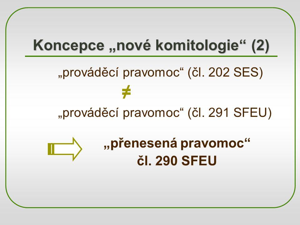 """Koncepce """"nové komitologie"""" (2) """"prováděcí pravomoc"""" (čl. 202 SES) ≠ """"prováděcí pravomoc"""" (čl. 291 SFEU) """"přenesená pravomoc"""" čl. 290 SFEU"""
