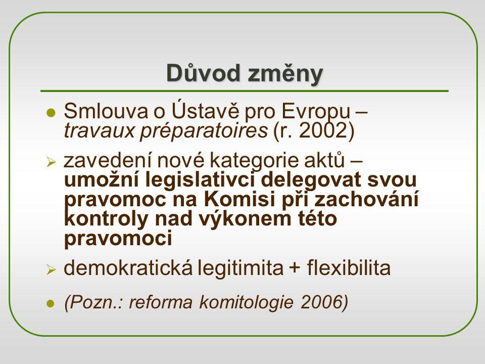 Důvod změny Smlouva o Ústavě pro Evropu – travaux préparatoires (r. 2002)  zavedení nové kategorie aktů – umožní legislativci delegovat svou pravomoc