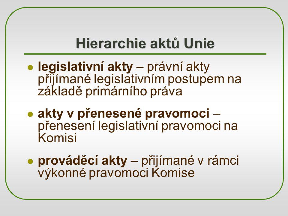 Hierarchie aktů Unie legislativní akty – právní akty přijímané legislativním postupem na základě primárního práva akty v přenesené pravomoci – přenese