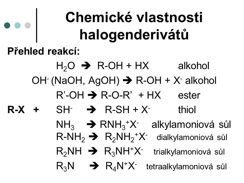 Chemické vlastnosti halogenderivátů Přehled reakcí: H 2 O  R-OH + HXalkohol OH - (NaOH, AgOH)  R-OH + X - alkohol R'-OH  R-O-R' + HXester R-X + SH -  R-SH + X - thiol NH 3  RNH 3 + X - alkylamoniová sůl R-NH 2  R 2 NH 2 + X - dialkylamoniová sůl R 2 NH  R 3 NH + X - trialkylamoniová sůl R 3 N  R 4 N + X - tetraalkylamoniová sůl