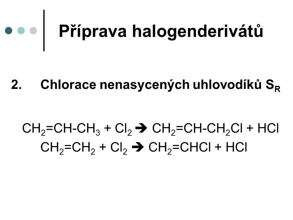 Příprava halogenderivátů 2.Chlorace nenasycených uhlovodíků S R CH 2 =CH-CH 3 + Cl 2  CH 2 =CH-CH 2 Cl + HCl CH 2 =CH 2 + Cl 2  CH 2 =CHCl + HCl