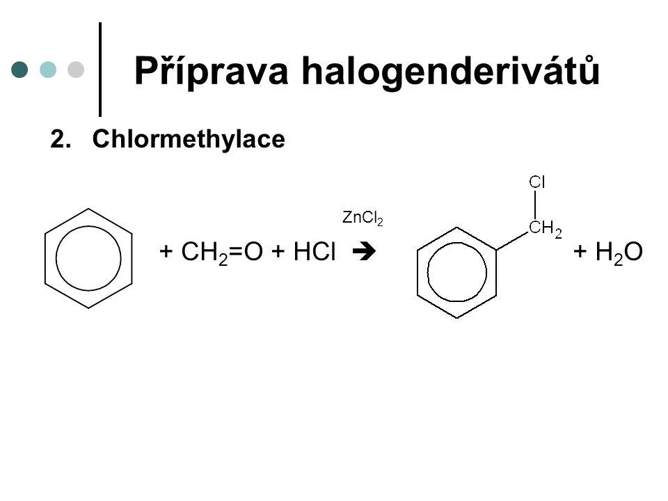Příprava halogenderivátů 2.Chlormethylace ZnCl 2 + CH 2 =O + HCl  + H 2 O
