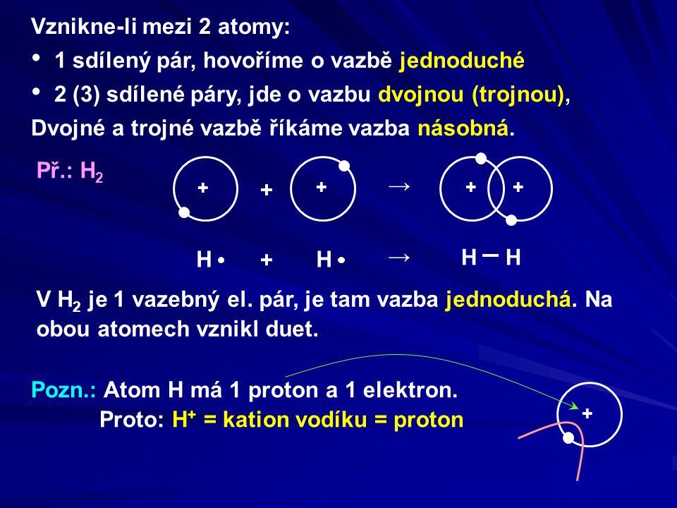 Př.: Cl 2 Cl + → V Cl 2 je vazba jednoduchá.Na obou atomech vznikl oktet.
