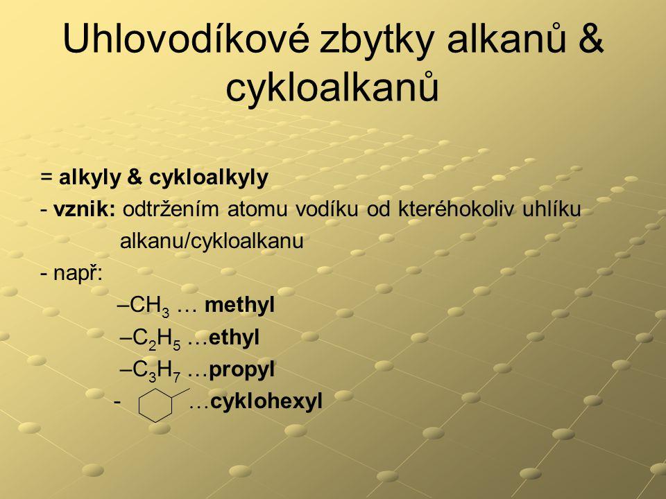 Uhlovodíkové zbytky alkanů & cykloalkanů = alkyly & cykloalkyly - vznik: odtržením atomu vodíku od kteréhokoliv uhlíku alkanu/cykloalkanu - např: –CH 3 … methyl –C 2 H 5 …ethyl –C 3 H 7 …propyl - … cyklohexyl
