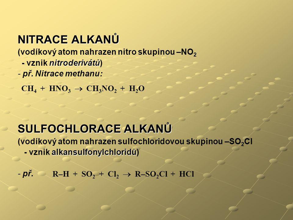 NITRACE ALKANŮ (vodíkový atom nahrazen nitro skupinou –NO 2 nitroderivátů - vznik nitroderivátů) - př. Nitrace methanu: SULFOCHLORACE ALKANŮ (vodíkový