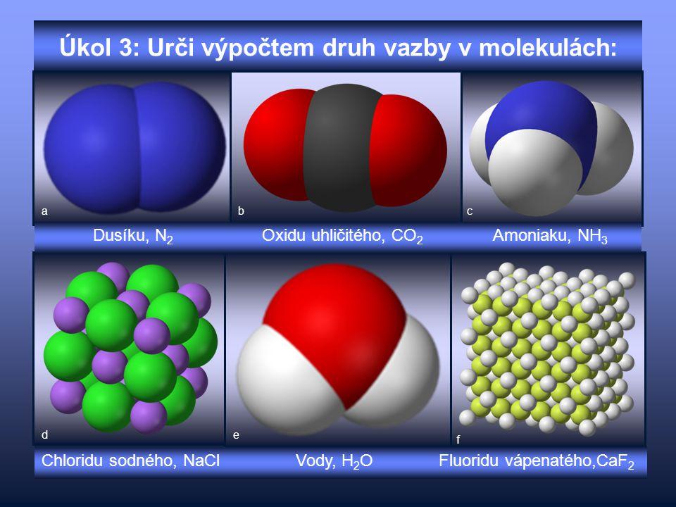 Úkol 3: Urči výpočtem druh vazby v molekulách: Dusíku, N 2 Oxidu uhličitého, CO 2 Amoniaku, NH 3 Chloridu sodného, NaCl Vody, H 2 O Fluoridu vápenatéh