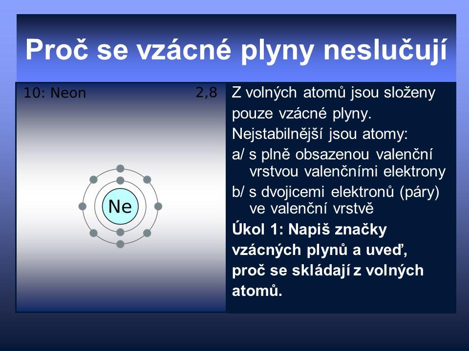 Proč se vzácné plyny neslučují Z volných atomů jsou složeny pouze vzácné plyny. Nejstabilnější jsou atomy: a/ s plně obsazenou valenční vrstvou valenč