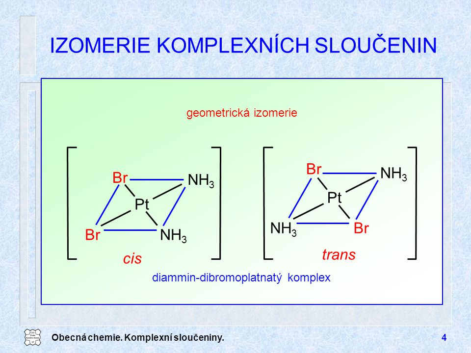 Obecná chemie. Komplexní sloučeniny.4 geometrická izomerie IZOMERIE KOMPLEXNÍCH SLOUČENIN Pt cis Br NH 3 Br Pt trans BrNH 3 Br diammin-dibromoplatnatý