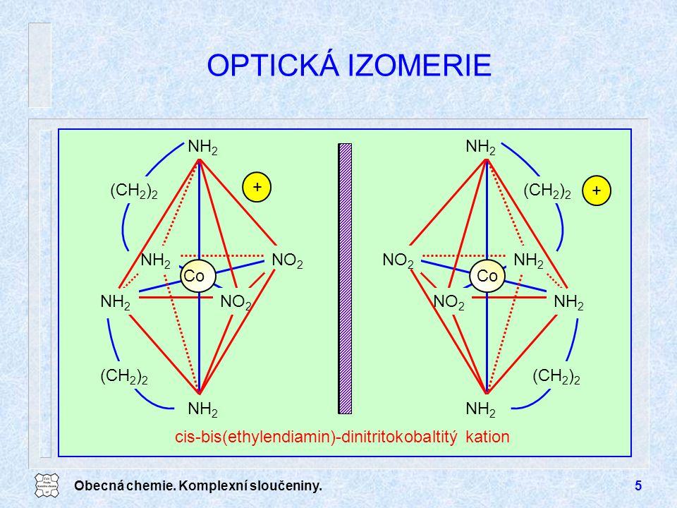 Obecná chemie. Komplexní sloučeniny.5 OPTICKÁ IZOMERIE NO 2 NH 2 Co NH 2 (CH 2 ) 2 cis-bis(ethylendiamin)-dinitritokobaltitý kation NO 2 NH 2 Co NH 2