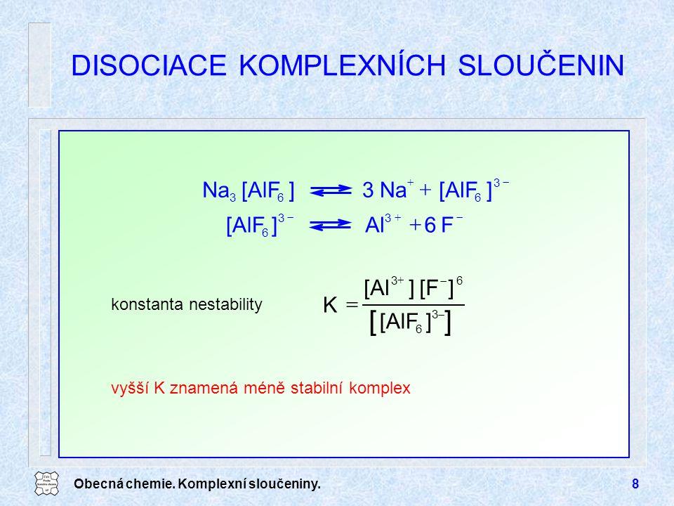 Obecná chemie. Komplexní sloučeniny.8 DISOCIACE KOMPLEXNÍCH SLOUČENIN konstanta nestability 33 6 F6Al][AlF   3 Na 3 663 ][AlF] Na   []  3 6 6