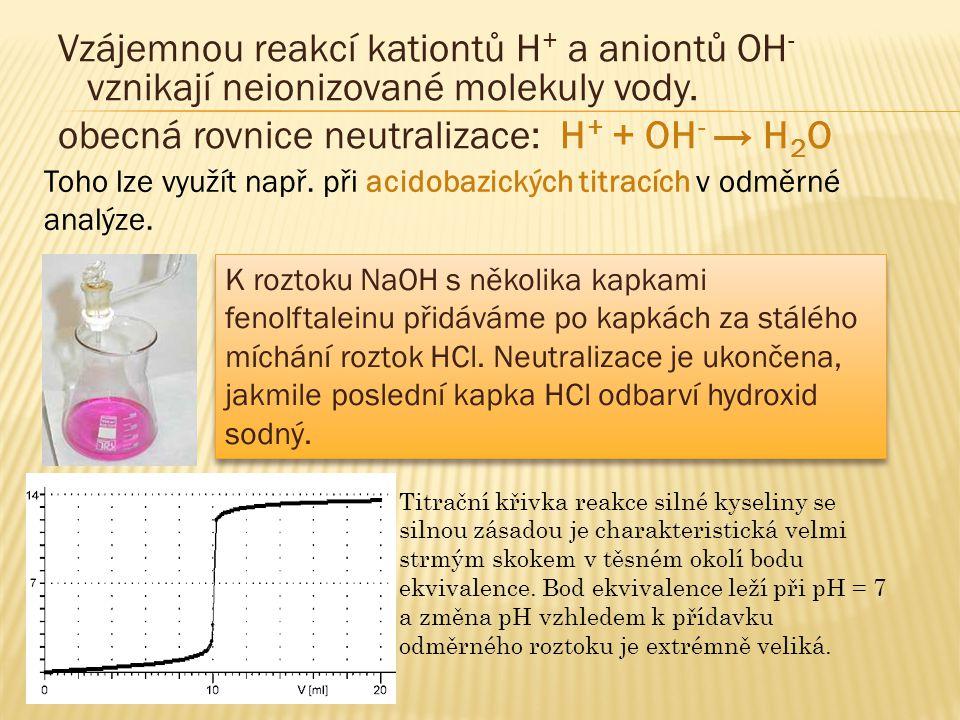 Vzájemnou reakcí kationtů H + a aniontů OH - vznikají neionizované molekuly vody.