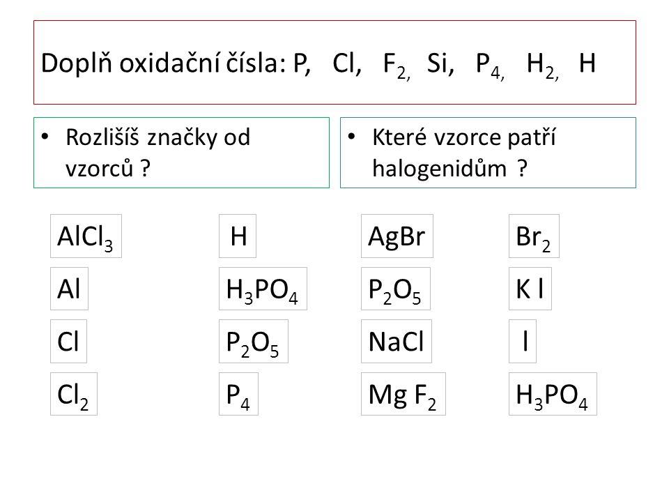 Doplň oxidační čísla: P, Cl, F 2, Si, P 4, H 2, H Rozlišíš značky od vzorců ? Které vzorce patří halogenidům ? AlCl 3 Cl Cl 2 Al H H 3 PO 4 P2O5P2O5 P