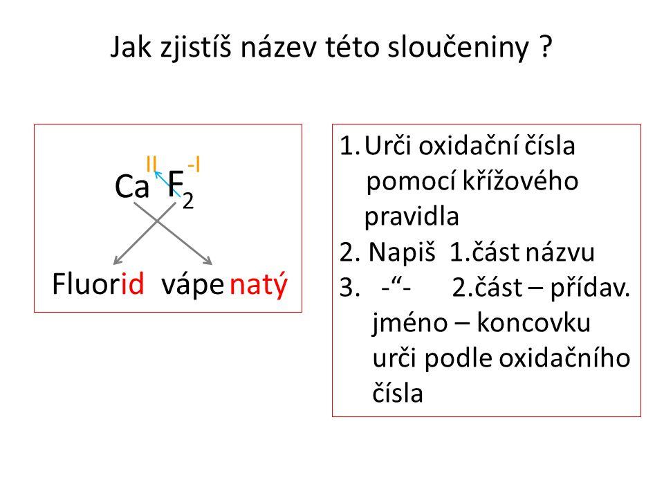 """Jak zjistíš název této sloučeniny ? Ca II-I 1.Urči oxidační čísla pomocí křížového pravidla 2. Napiš 1.část názvu 3. -""""- 2.část – přídav. jméno – konc"""