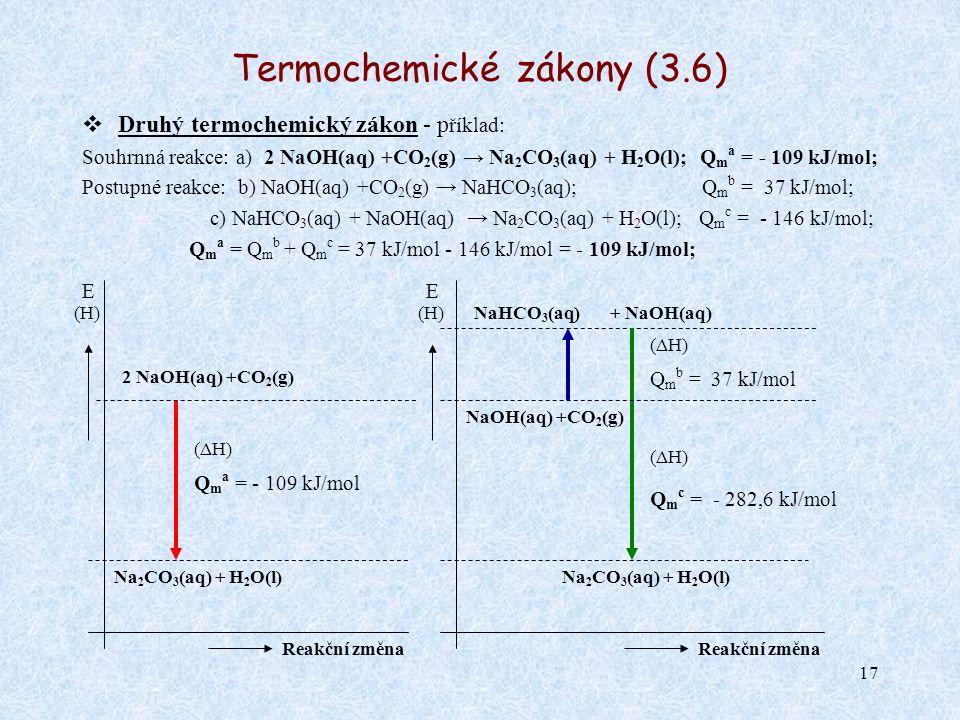 17 Termochemické zákony (3.6)  Druhý termochemický zákon - p říklad: Souhrnná reakce: a) 2 NaOH(aq) +CO 2 (g) → Na 2 CO 3 (aq) + H 2 O(l); Q m a = -