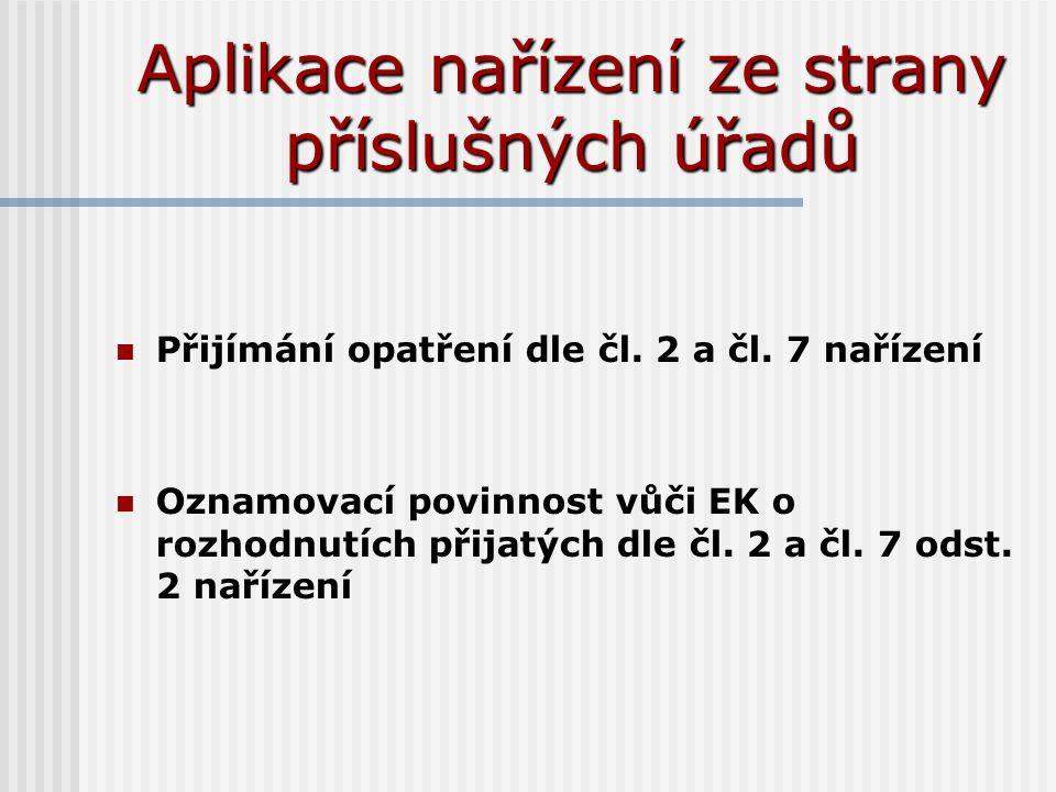 Aplikace nařízení ze strany příslušných úřadů Přijímání opatření dle čl. 2 a čl. 7 nařízení Oznamovací povinnost vůči EK o rozhodnutích přijatých dle