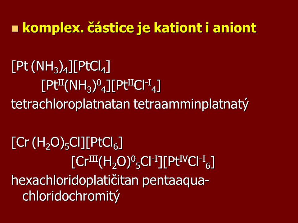 komplex. částice je kationt i aniont komplex. částice je kationt i aniont [Pt (NH 3 ) 4 ][PtCl 4 ] [Pt II (NH 3 ) 0 4 ][Pt II Cl -I 4 ] tetrachloropla