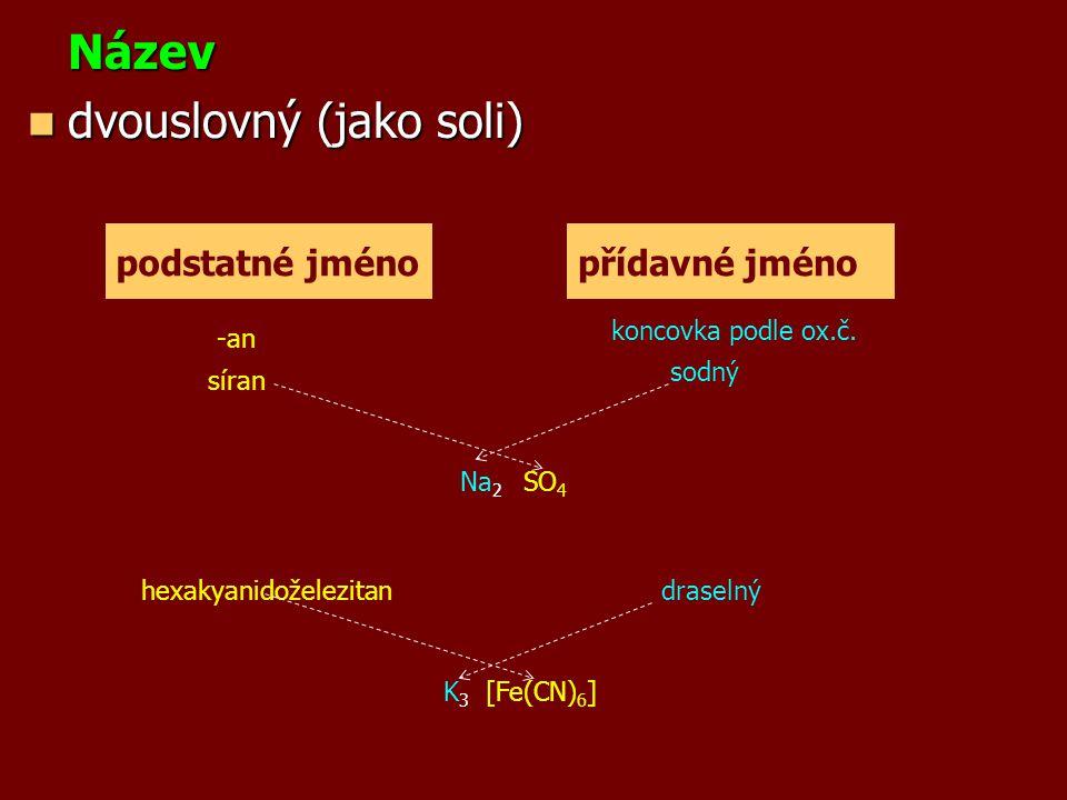 Název dvouslovný (jako soli) dvouslovný (jako soli) podstatné jménopřídavné jméno síran sodný Na 2 SO 4 K 3 [Fe(CN) 6 ] hexakyanidoželezitandraselný -