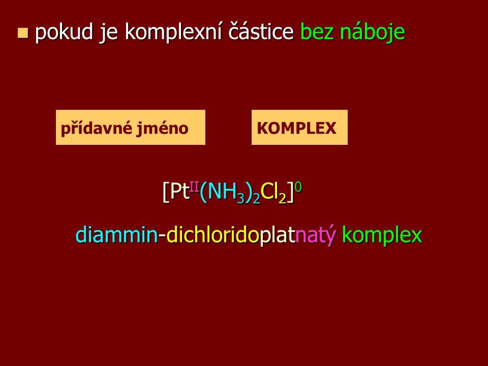 Příklady k procvičení Určete vzorec sloučeniny: Určete vzorec sloučeniny: a) chlorid ammin-pentaaquazinečnatý b) diaqua-dihydridozinečnatý komplex c) hexachloridoplatičitan draselný d) jodid tetraamminměďnatý e) tetrahydroxidozlatitan amonný f) hydrido-tetrakarbonylkobaltný komplex g) síran tetraamminměďnatý