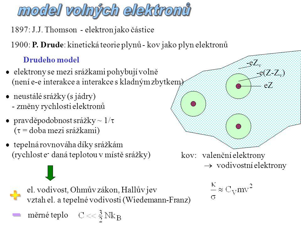 el. vodivost, Ohmův zákon, Hallův jev vztah el. a tepelné vodivosti (Wiedemann-Franz) měrné teplo 1897: J.J. Thomson - elektron jako částice 1900: P.