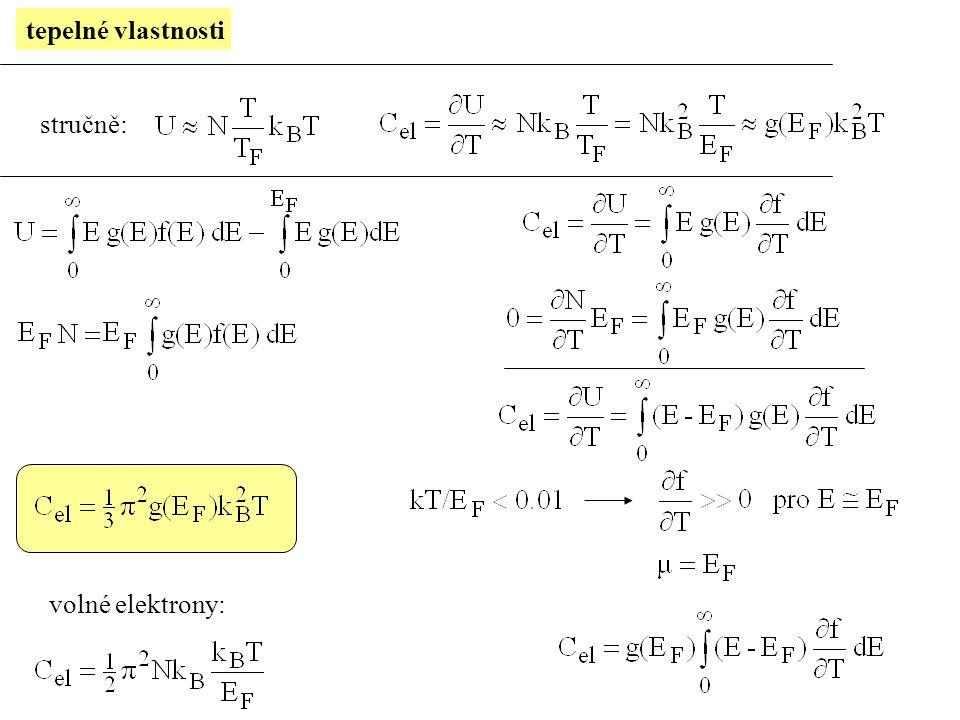 volné elektrony X reálné kovy efektivní hmotnost m*  (mJmol -1 K -2 ): experiment 1.6 1.4 2.1 4.6 15.2 0.7 0.6 0.6 0.7 1.3 0.6 volné e.