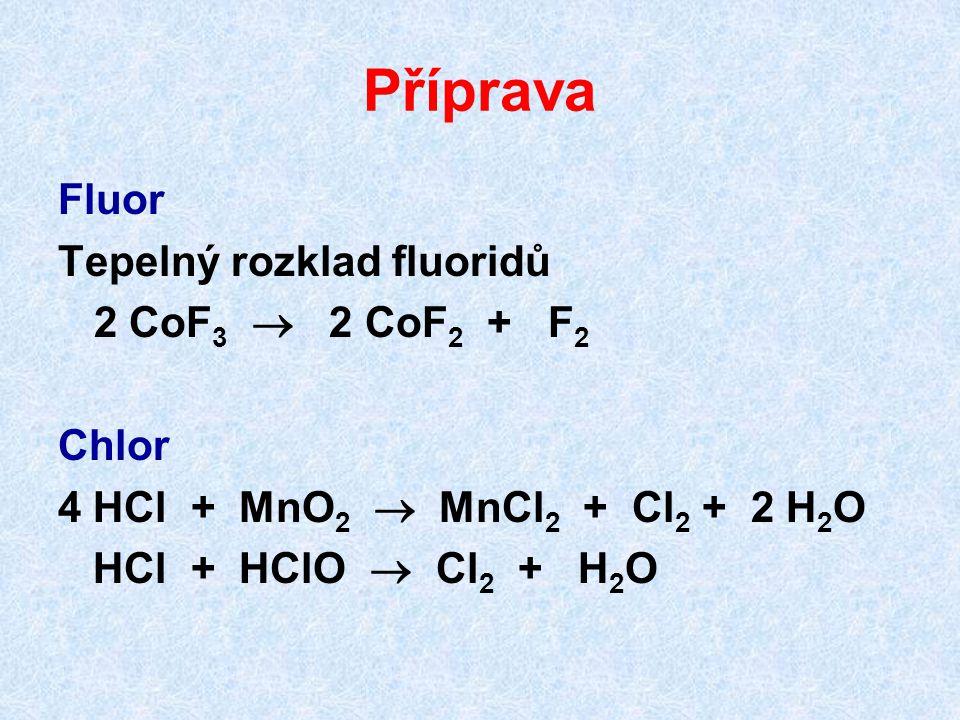 Příprava Fluor Tepelný rozklad fluoridů 2 CoF 3  2 CoF 2 + F 2 Chlor 4 HCl + MnO 2  MnCl 2 + Cl 2 + 2 H 2 O HCl + HClO  Cl 2 + H 2 O