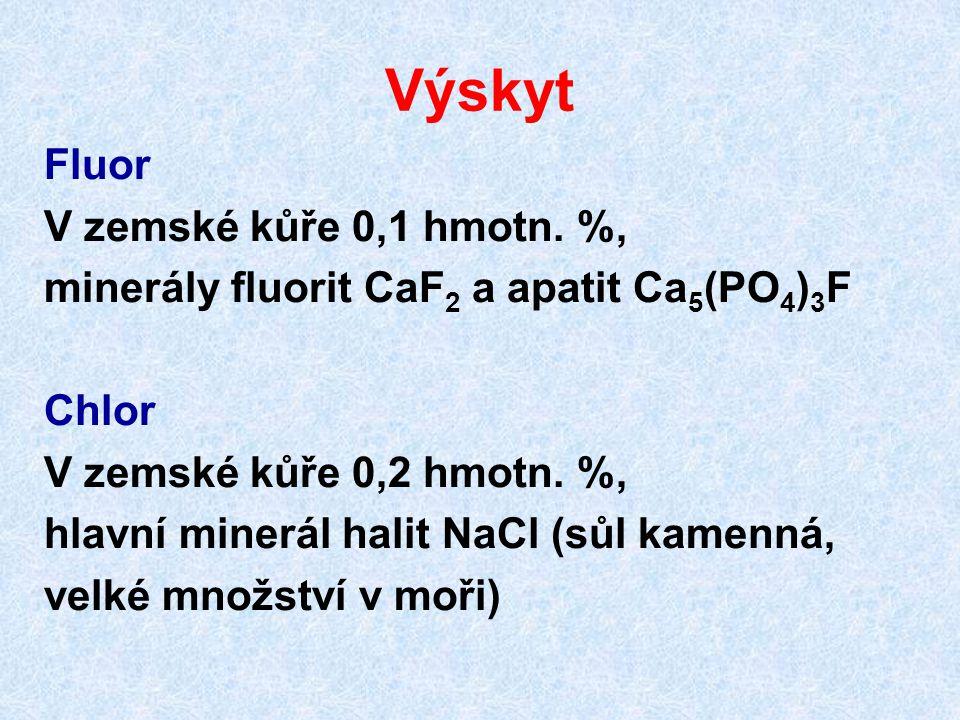 Oxokyseliny halogenů kyseliny typu HXO 3 silné kyseliny, známé pouze v roztoku 3 Cl 2 + 6 KOH → 5 KCl + KClO 3 + 3 H 2 O reakce za horka kyseliny se ze solí připravují na iontoměničích nebo přes barnaté soli Ba(ClO 3 ) 2 + H 2 SO 4 → BaSO 4 + 2 HClO 3