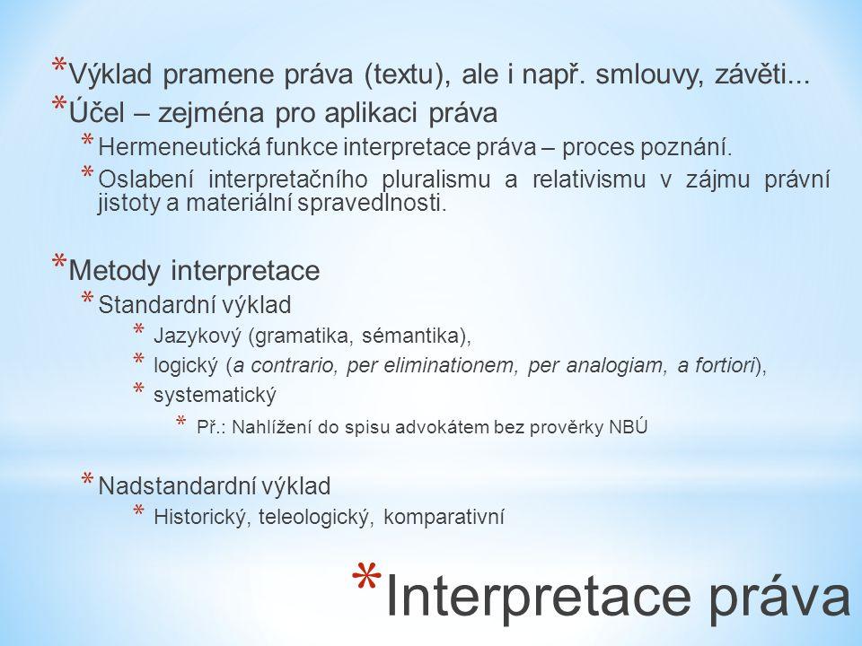 * Interpretace práva * Výklad pramene práva (textu), ale i např. smlouvy, závěti... * Účel – zejména pro aplikaci práva * Hermeneutická funkce interpr