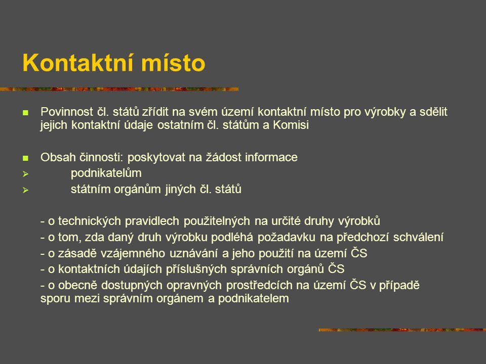 Kontaktní místo Povinnost čl.