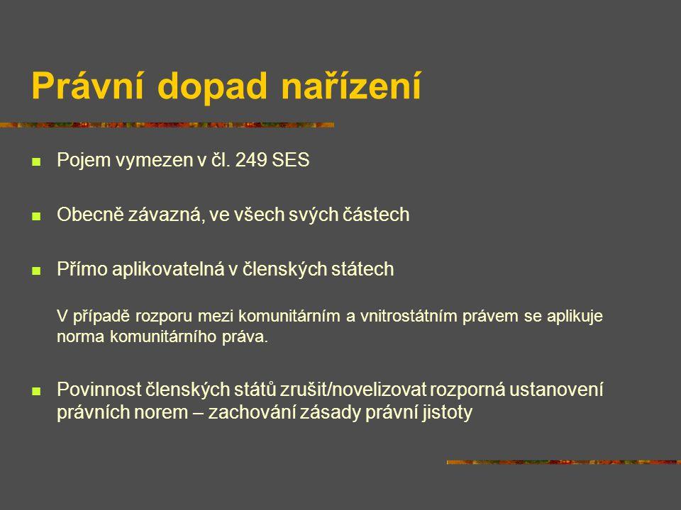 Právní dopad nařízení Pojem vymezen v čl.