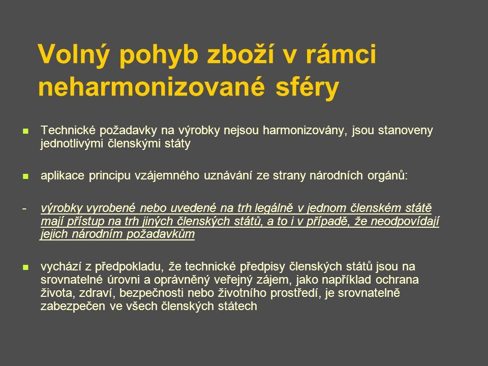Volný pohyb zboží v rámci neharmonizované sféry Technické požadavky na výrobky nejsou harmonizovány, jsou stanoveny jednotlivými členskými státy aplik