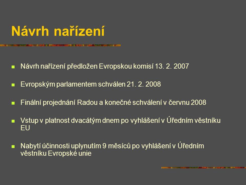 Návrh nařízení Návrh nařízení předložen Evropskou komisí 13. 2. 2007 Evropským parlamentem schválen 21. 2. 2008 Finální projednání Radou a konečné sch