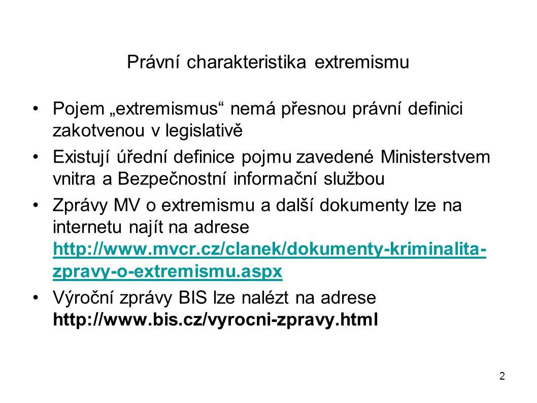 23 Hnutí směřující k potlačení práv a svobod Za hnutí ve smyslu § 260 odst.
