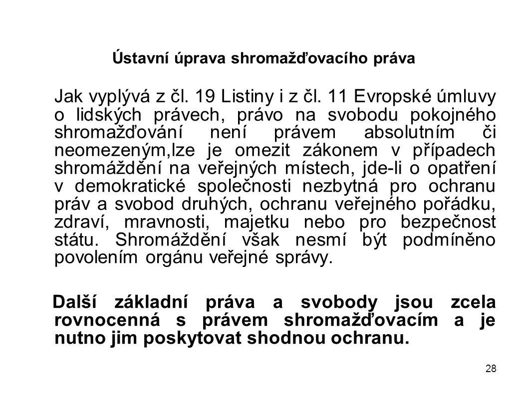 28 Ústavní úprava shromažďovacího práva Jak vyplývá z čl. 19 Listiny i z čl. 11 Evropské úmluvy o lidských právech, právo na svobodu pokojného shromaž
