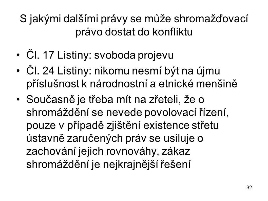 32 S jakými dalšími právy se může shromažďovací právo dostat do konfliktu Čl. 17 Listiny: svoboda projevu Čl. 24 Listiny: nikomu nesmí být na újmu pří