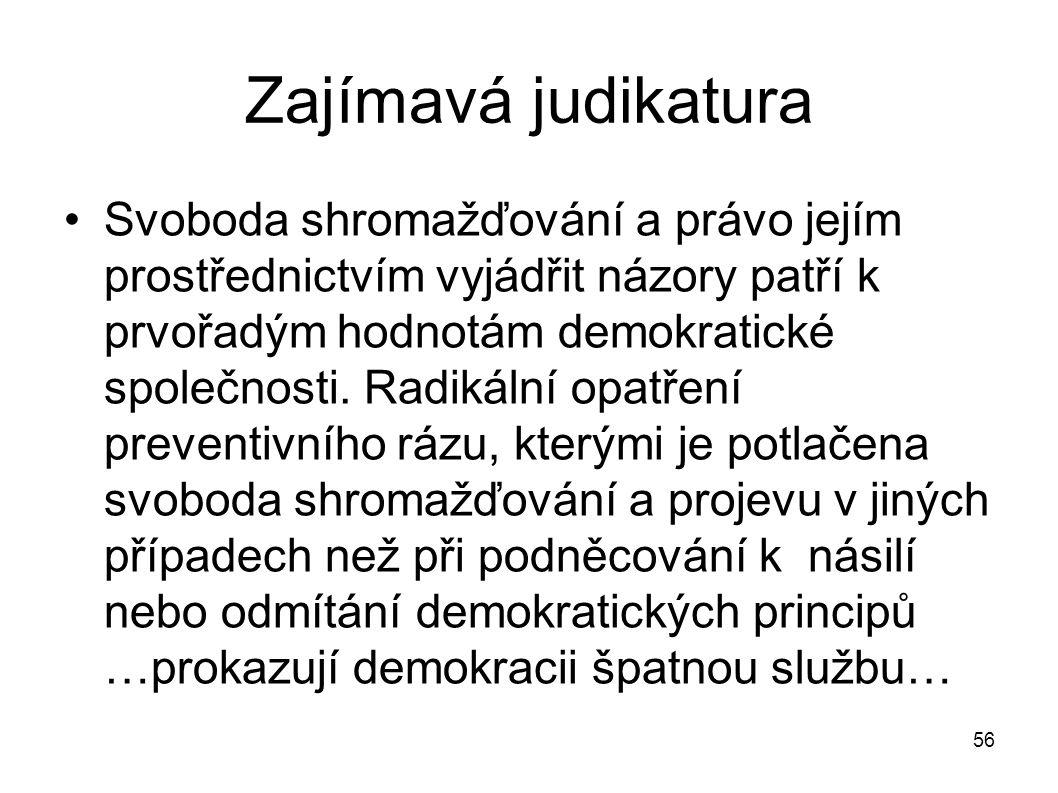 Zajímavá judikatura Svoboda shromažďování a právo jejím prostřednictvím vyjádřit názory patří k prvořadým hodnotám demokratické společnosti. Radikální