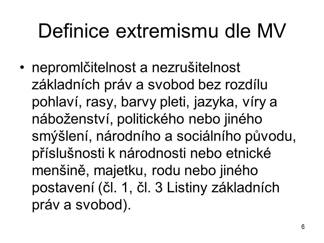 6 Definice extremismu dle MV nepromlčitelnost a nezrušitelnost základních práv a svobod bez rozdílu pohlaví, rasy, barvy pleti, jazyka, víry a nábožen