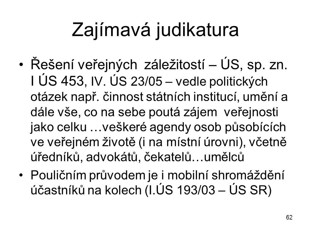Zajímavá judikatura Řešení veřejných záležitostí – ÚS, sp. zn. I ÚS 453, IV. ÚS 23/05 – vedle politických otázek např. činnost státních institucí, umě