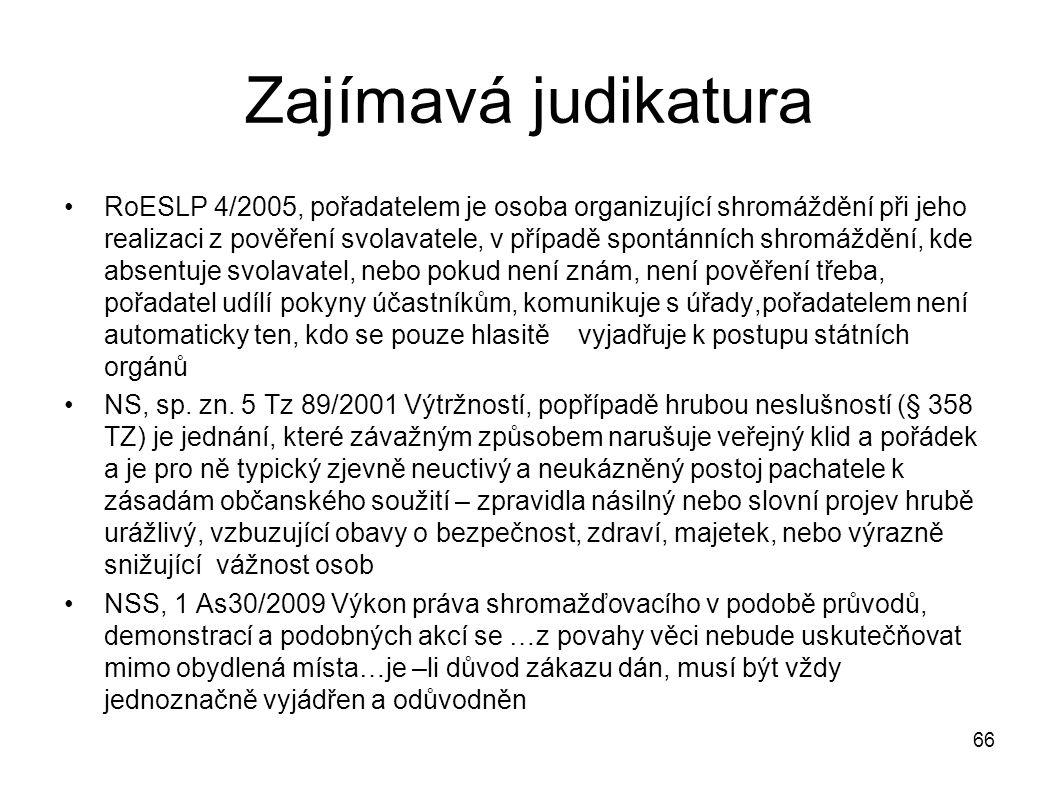 Zajímavá judikatura RoESLP 4/2005, pořadatelem je osoba organizující shromáždění při jeho realizaci z pověření svolavatele, v případě spontánních shro