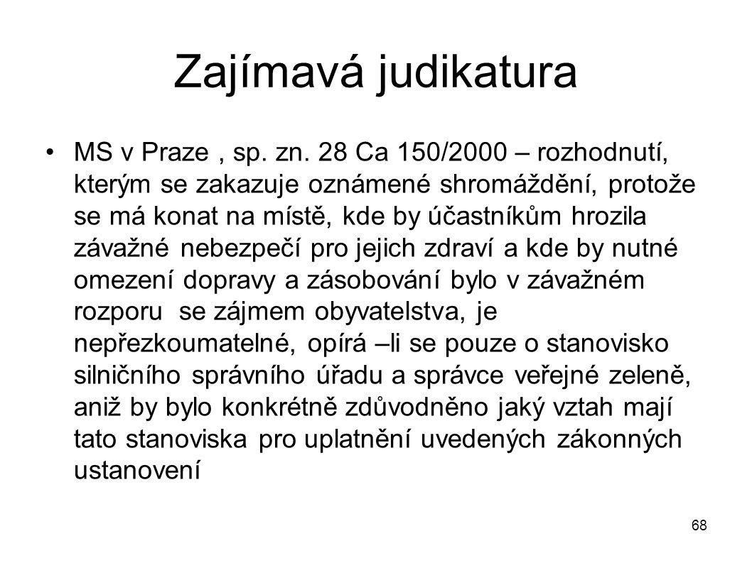 Zajímavá judikatura MS v Praze, sp. zn. 28 Ca 150/2000 – rozhodnutí, kterým se zakazuje oznámené shromáždění, protože se má konat na místě, kde by úča
