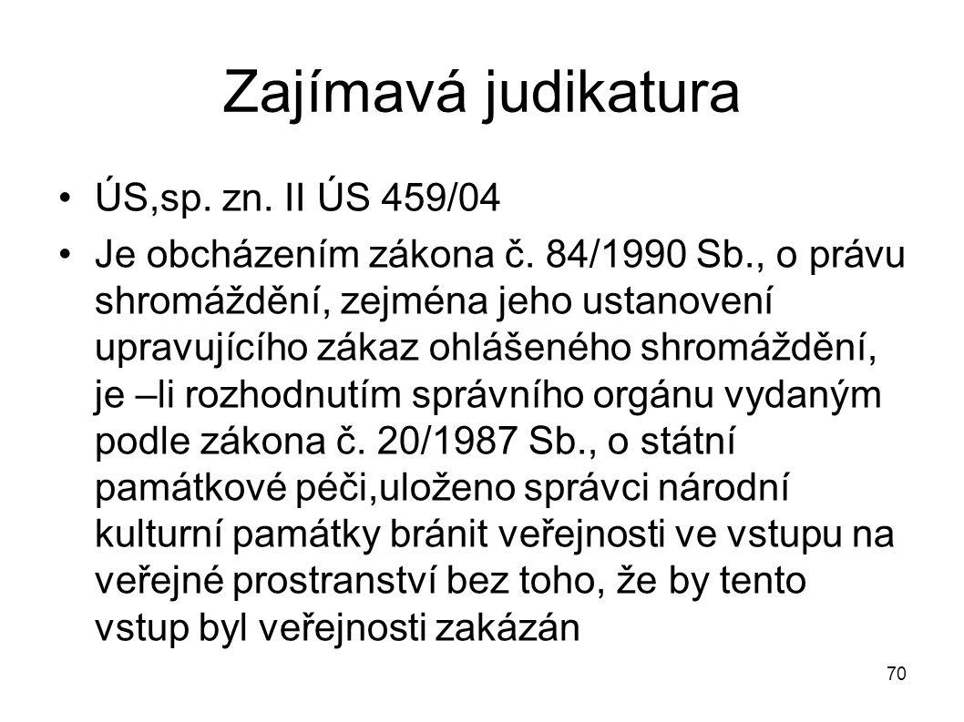 Zajímavá judikatura ÚS,sp. zn. II ÚS 459/04 Je obcházením zákona č. 84/1990 Sb., o právu shromáždění, zejména jeho ustanovení upravujícího zákaz ohláš